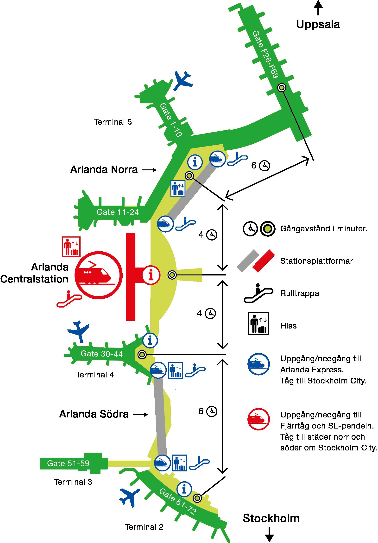 Arlandabanan Karta terminaler och stationer på Arlanda